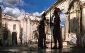 Wallpaper weapons, Warrior, clouds, the sky, Rome, the city, armor