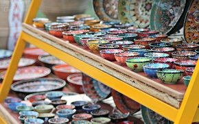 Picture colored, beautiful, plates, Greece