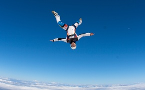 Picture the sky, clouds, the moon, parachute, container, helmet, skydivers, extreme sports, parachuting, the freefly, headdown