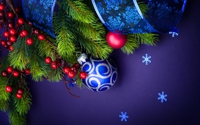 Wallpaper decoration, berries, holiday, toy, spruce, branch, tape