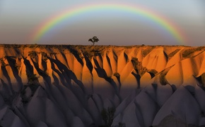 Picture the sky, mountains, tree, rocks, rainbow, Turkey, Cappadocia, Cappadocia, Cappadocia, Amir