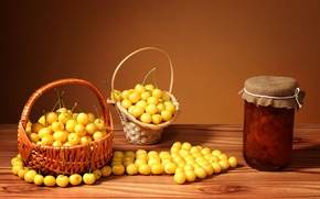 Picture Bank, still life, cherry, jam, baskets