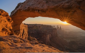 Picture the sky, rays, sunset, rocks, arch, USA, Arches National Park, uta