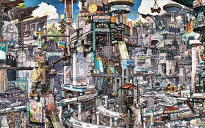 Picture the city, transport, road, advertising, floors, tower, stairs, bridges, urbanism, megopolis