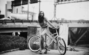 Picture girl, bike, scratches, retro style, Karen Abramyan