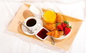 Picture coffee, Breakfast, cream, strawberry, juice, cup, jam, tray, coffee, croissants, growing, breakfast