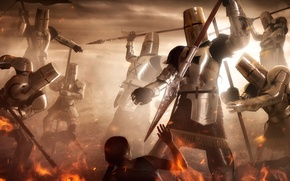 Picture fantasy, fire, art, knights, the crusaders, Holy Wars