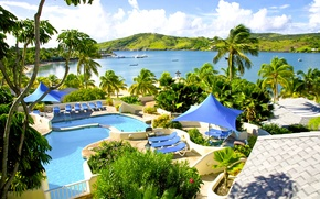 Picture palm trees, the ocean, pool, resort, Caribbean, Caribbean, Antigua, St.James Club and Villas resort