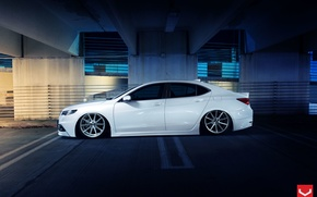 Picture Car, White, Side, Tuning, Acura, Vossen, Wheels, TLX, Nigth
