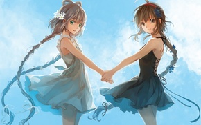 Picture the sky, clouds, flowers, smile, girls, anime, art, braids, vocaloid, hands, luo tianyi, yuezheng ling, …