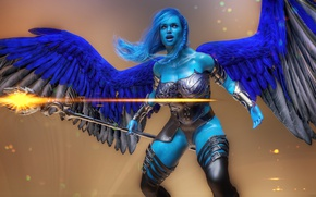 Picture staff, chest, girl, warrior, angel, wings, magic, look