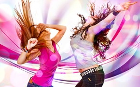 Picture color, girls, bright, dance, Dancing girls