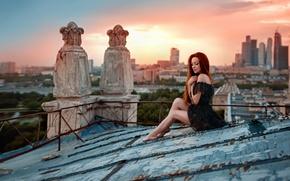 Picture Irina Gusarova, Sunset on the roof, legs, roof, the city, George Chernyadev, Ira, sunset