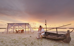 Picture beach, the ocean, romance, boat, the evening, tent, pair, two