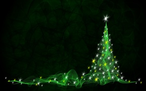 Picture abstraction, tree, new year, green