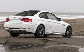 Picture sand, sea, beach, rain, BMW, BMW, white, beach, rain, sea, E92, m3. white