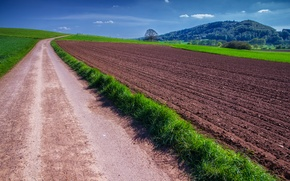 Picture road, grass, nature, field, grass, Nature, road, fields