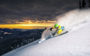 Picture snow, sunset, nature, ski, mountain, Sport, slope, athlete, sport, mountain