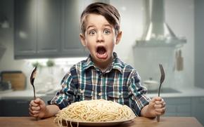 Picture Boy, Children, Face, Plug, Pasta