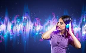 Picture girl, music, background, headphones, ringtones
