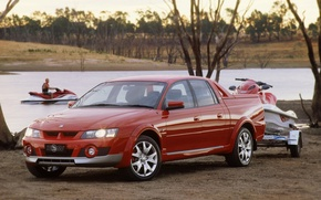 Picture red, river, background, jet ski, pickup, Vauxhall, the front, avalanche, holden, Vauxhall, Holden, hsv, xuv