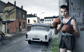Picture street, boy, boxer