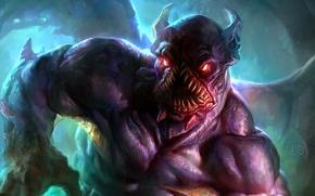 Picture monster, teeth, art, Dota 2, Night Stalker, Balanar
