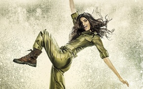 Picture cinema, Hero, happy, long hair, woman, smile, movie, brunette, film, pose, boots, Bollywood, official wallpaper, …