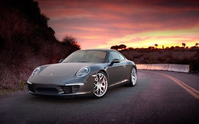 Picture Sunset, The sky, Auto, Road, Mountains, Porsche, Tuning, Machine