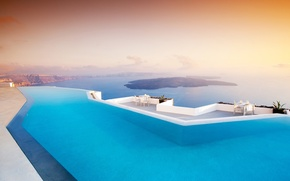 Picture sea, Islands, mountains, the evening, pool, Santorini, Greece, chairs, the hotel, pool, terrace, tables, Santorini, …