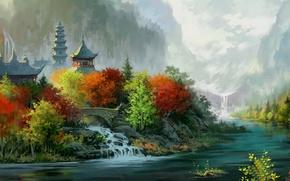 Picture bridge, waterfall, Temple, pagoda