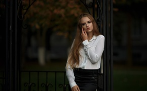 Picture look, girl, sweetheart, model, skirt, portrait, blouse, light, beautiful, the beauty, sitting, nature, pretty, beauty, ...