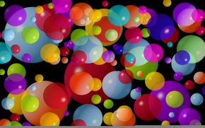Wallpaper circles, balls, small, large, colorful, the dark background, average