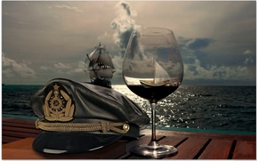 Picture SEA, SHIP, HORIZON, The OCEAN, The SKY, GLASS, CLOUDS, HAT, SAILS, GLASS, CAP, BOAT, CAP, ...