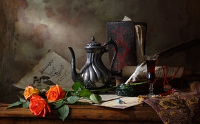 Picture flowers, pen, wine, glass, roses, ring, book, decoration, pitcher, paper, scroll, ink