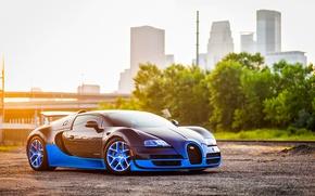Picture Bugatti, Grand, Veyron, Blue, Front, Sun, Sport, Supercar, Spoiler, Ligth, Vittesse
