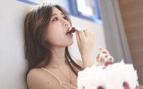 Picture girl, face, ideal, strawberry, cake