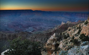 Picture the sky, sunset, mountains, horizon, canyon