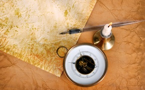 Wallpaper paper, candle, handle, compass, candle holder, old