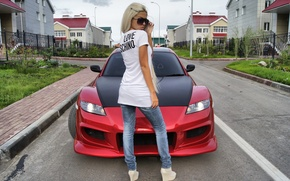 Wallpaper girl, home, blonde, mazda, Mazda, rx-8