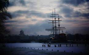 Wallpaper ship, Peter, snow, winter, Saint Petersburg, the city, sailboat