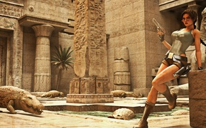 Picture girl, glasses, crocodiles, Tomb Raider, lara croft, Egypt