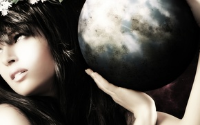 Picture look, girl, face, earth, hair, ball, hands, lips, profile, goddess