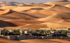 Picture sand, the dunes, the city, desert, home, oasis