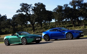 Picture trees, Aston Martin, coupe, beauty, Aston Martin, Roadster, blue, green, Vantage S Roadster