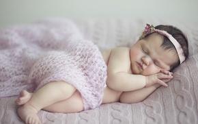 Picture child, sleep, girl, wreath, baby