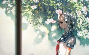 Picture girl, flowers, rain, anime, art, glasses, form, schoolgirl, 5esrs