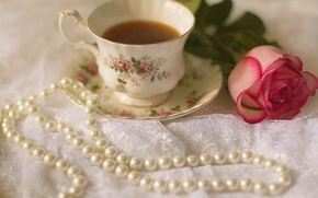 Picture rose, Cup, rose, cup, drink, tea, tea, pearls