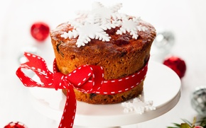 Picture winter, red, food, New Year, Christmas, bow, Christmas, dessert, snowflake, cakes, holidays, New Year, cupcake