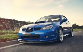 Picture hills, Subaru, Impreza, WRX, Blik, blue, blue, Subaru, Impreza